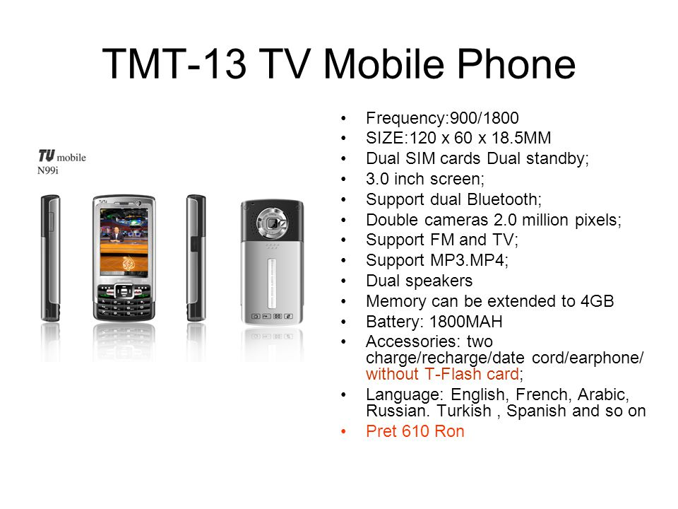 TMT-13 TV Mobile Phone Frequency:900/1800 SIZE:120 x 60 x 18.5MM