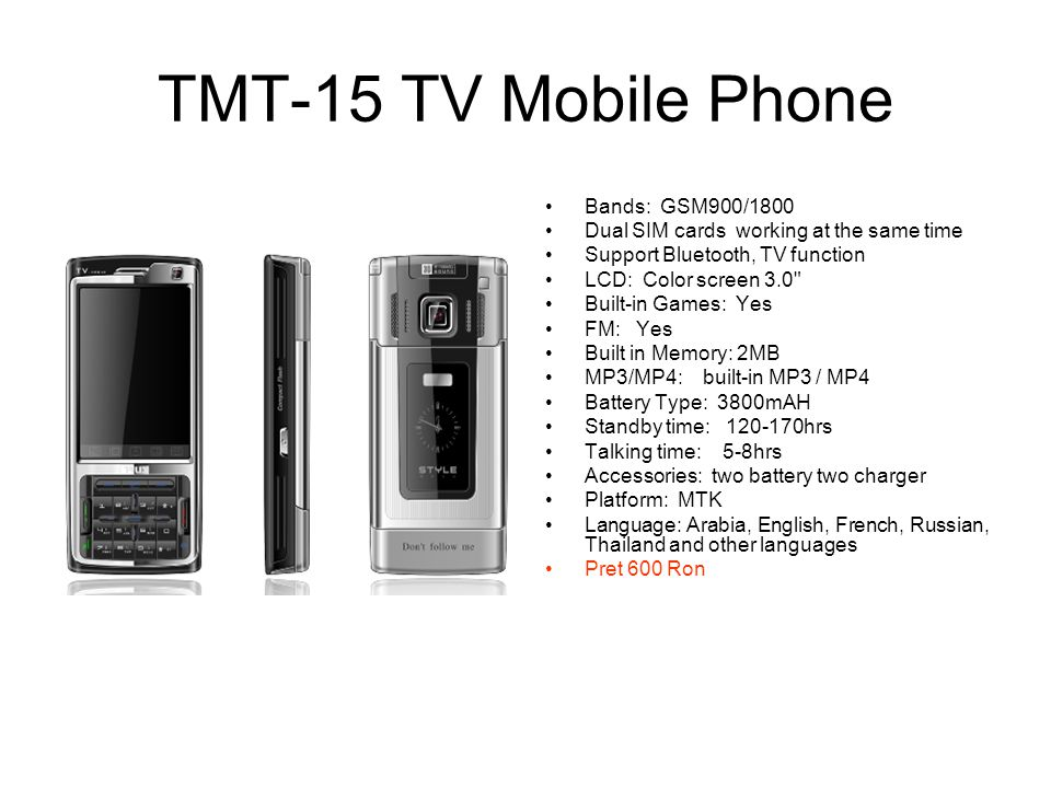 TMT-15 TV Mobile Phone Bands: GSM900/1800