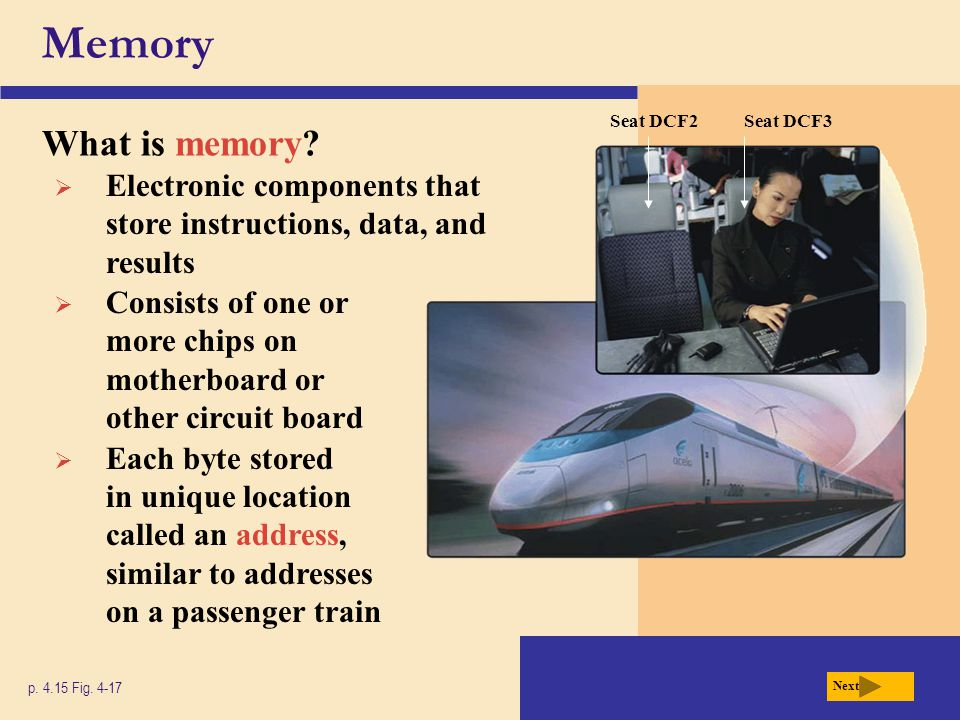 Memory Seat DCF2. Seat DCF3. What is memory Electronic components that store instructions, data, and results.
