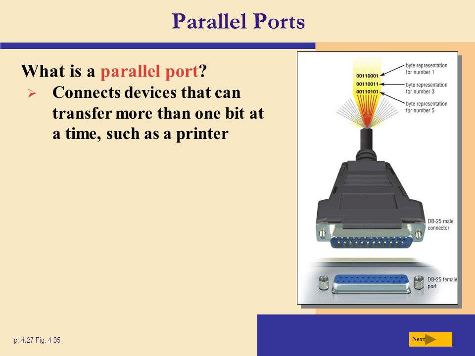 Parallel Ports What is a parallel port