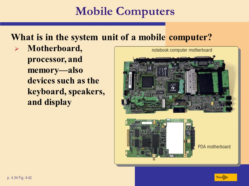 Mobile Computers What is in the system unit of a mobile computer