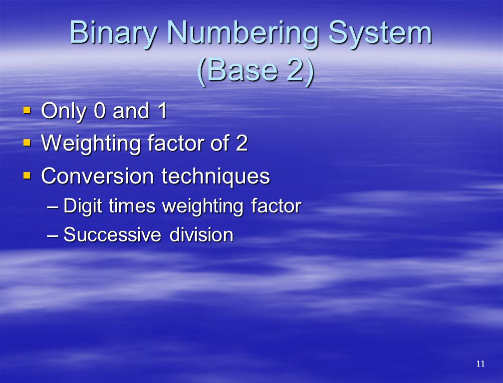 Binary Numbering System (Base 2)