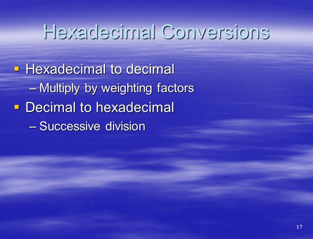 Hexadecimal Conversions