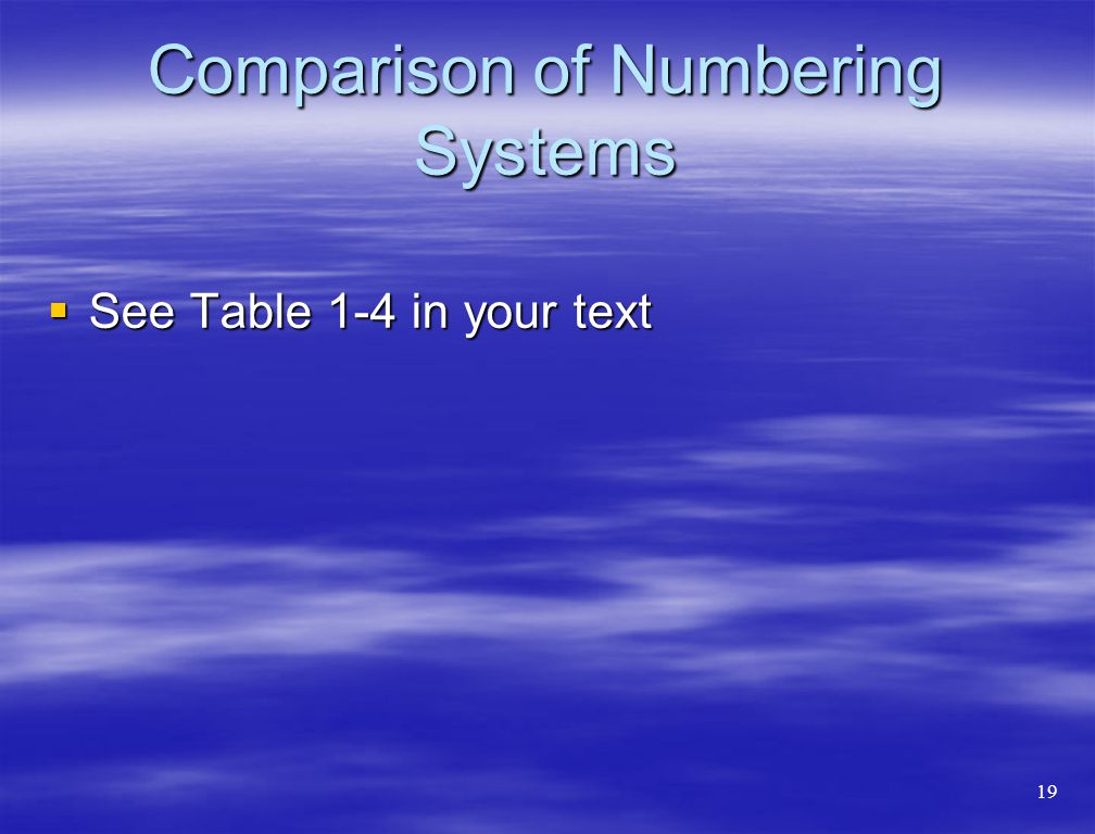 Comparison of Numbering Systems