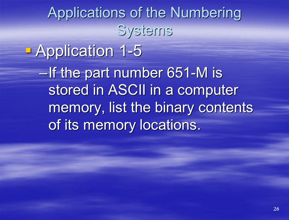 Applications of the Numbering Systems