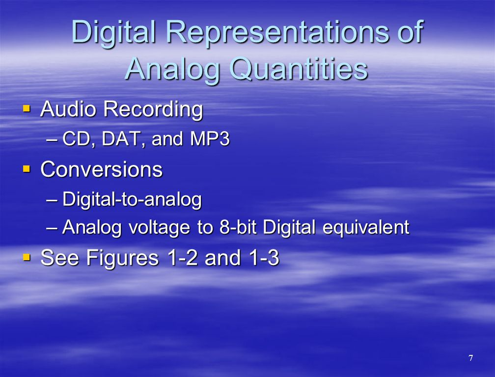 Digital Representations of Analog Quantities