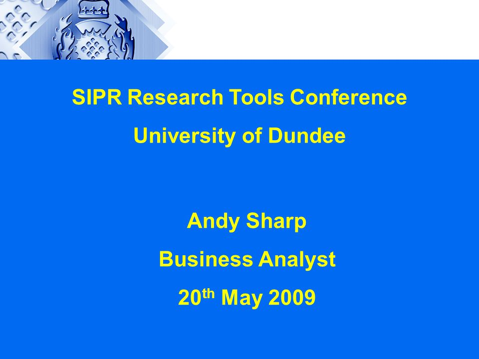 SIPR Research Tools Conference