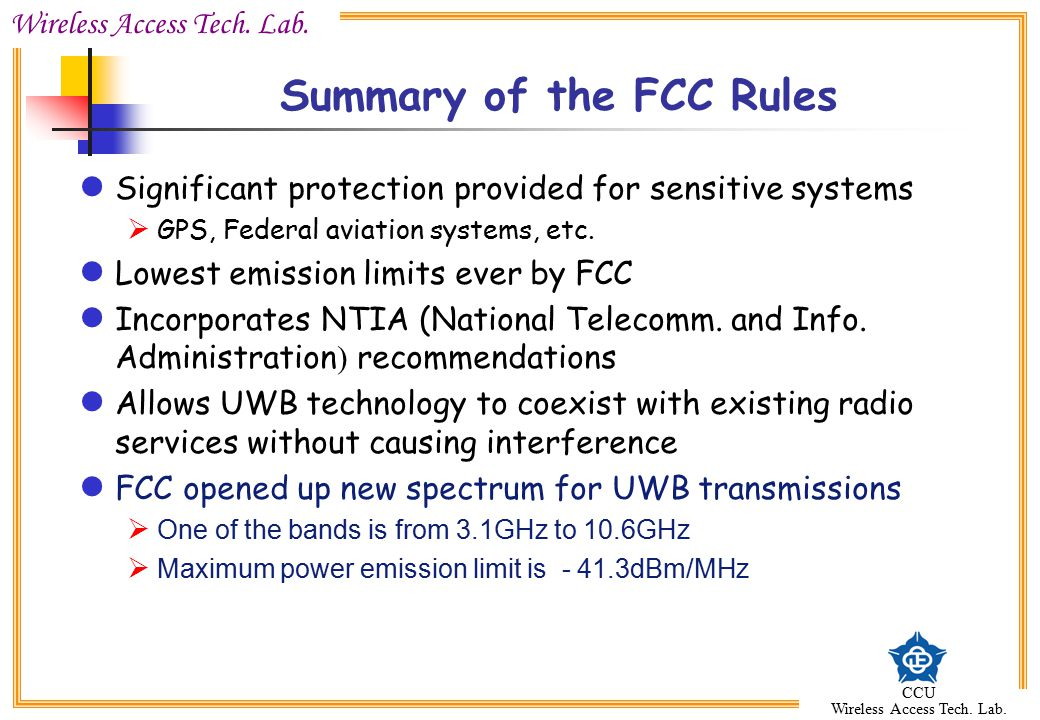 Summary of the FCC Rules