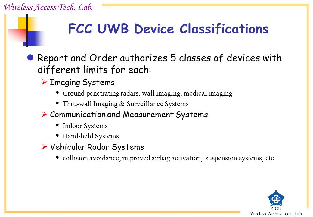 FCC UWB Device Classifications