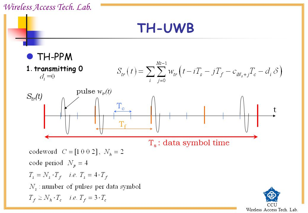 TH-UWB TH-PPM Str(t) Tc t Tf Ts : data symbol time 1. transmitting 0