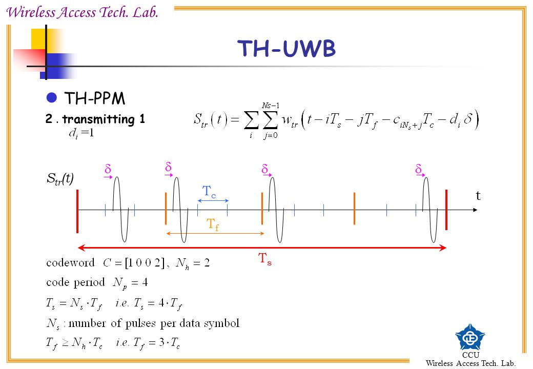 TH-UWB TH-PPM 2 . transmitting 1 d d d d Str(t) Tc t Tf Ts