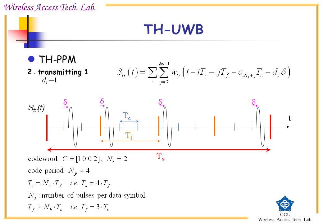 TH-UWB TH-PPM 2 . transmitting 1 d d d d Str(t) Tc t Tf Ts