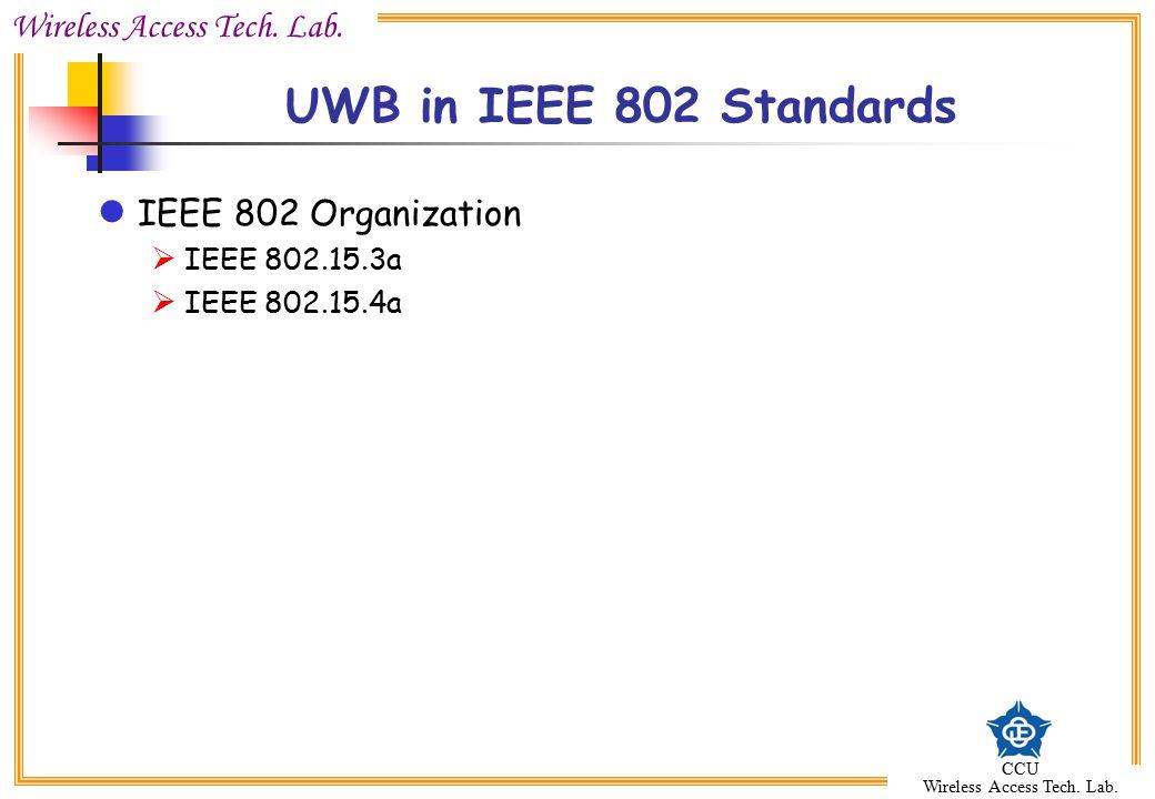 UWB in IEEE 802 Standards IEEE 802 Organization IEEE 802.15.3a