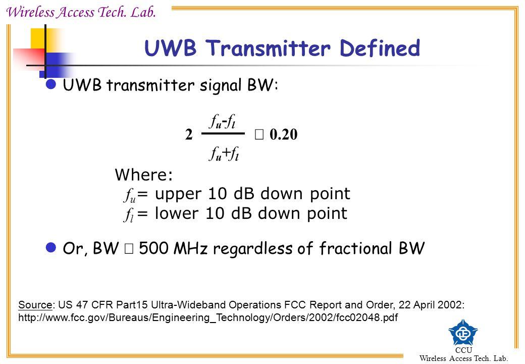 UWB Transmitter Defined