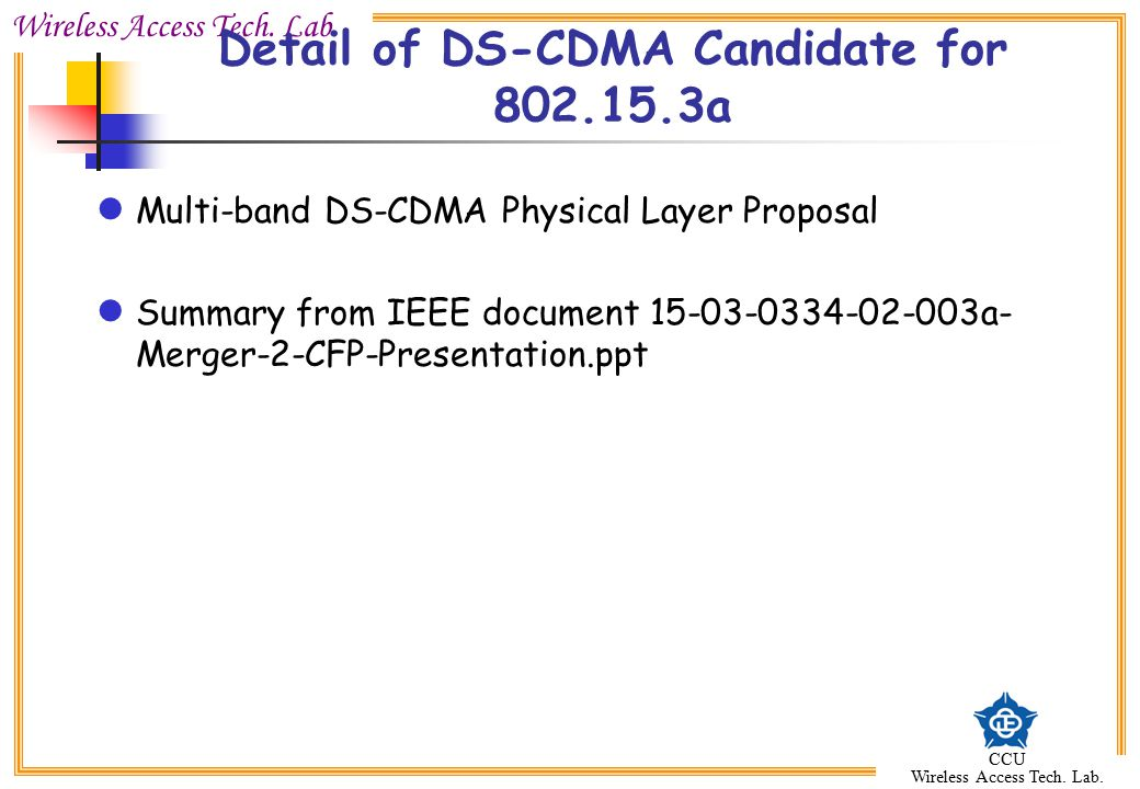 Detail of DS-CDMA Candidate for 802.15.3a