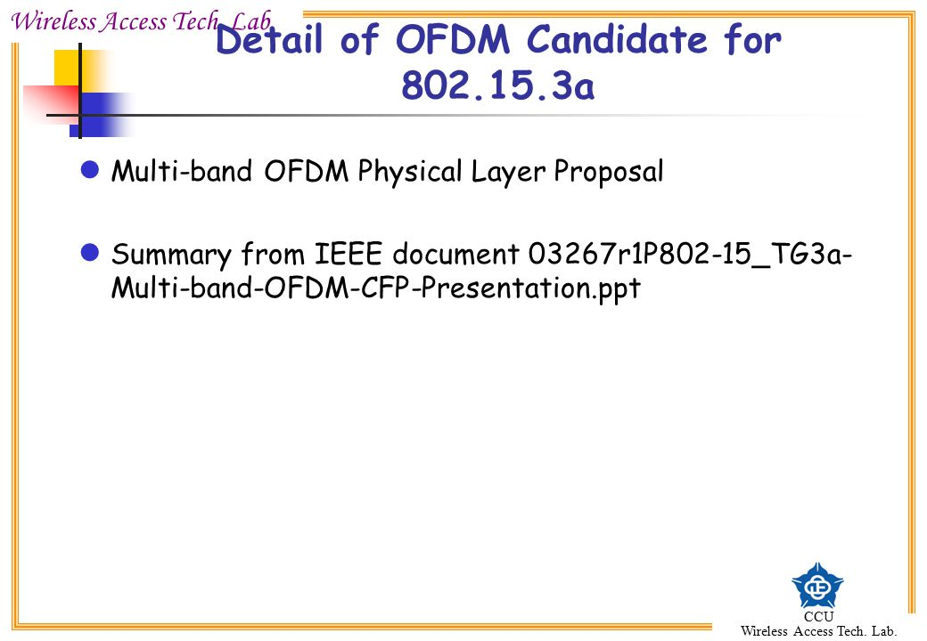 Detail of OFDM Candidate for a