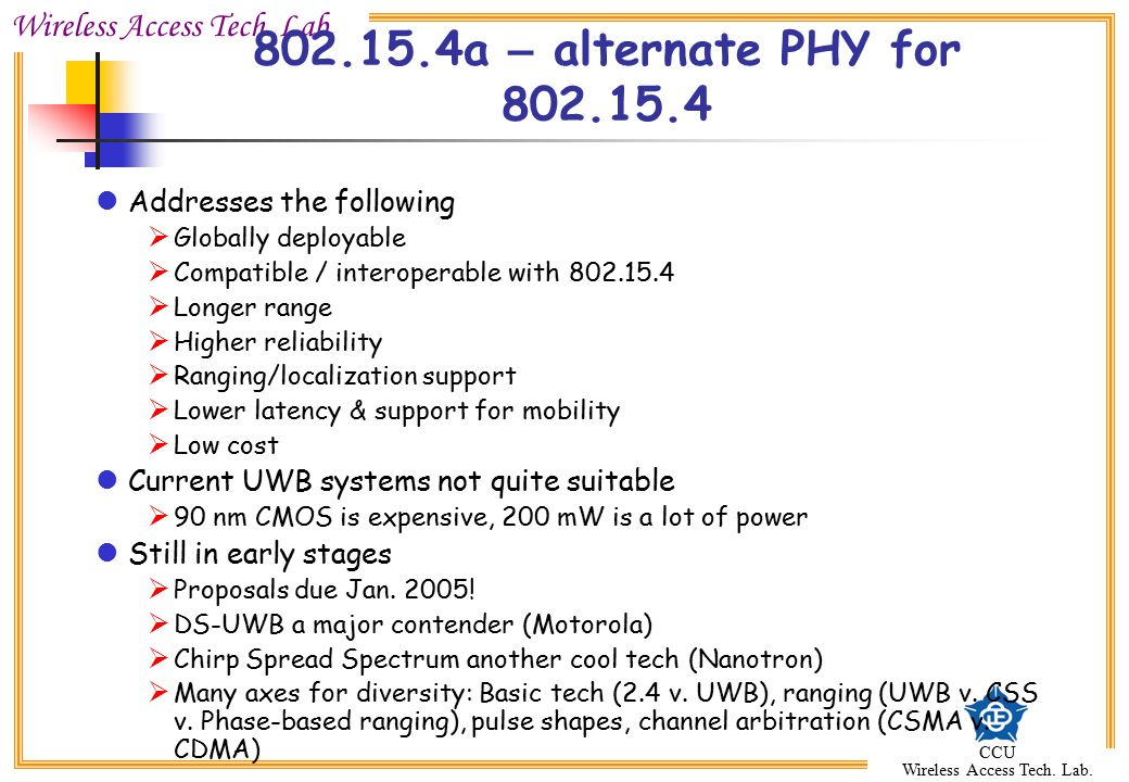 802.15.4a – alternate PHY for 802.15.4 Addresses the following
