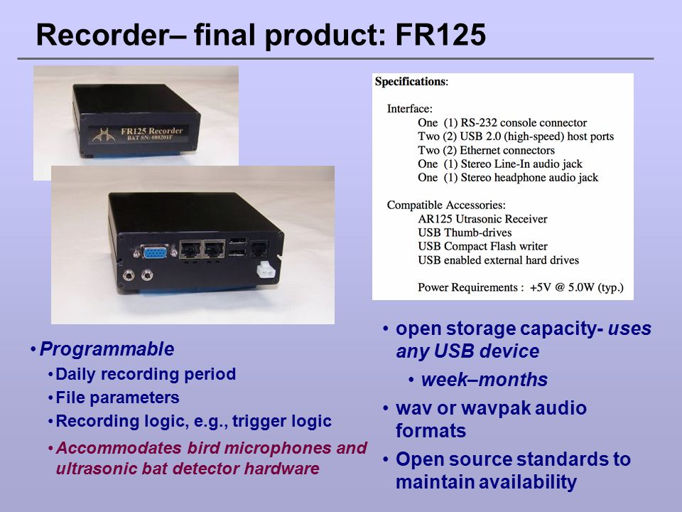 Recorder– final product: FR125