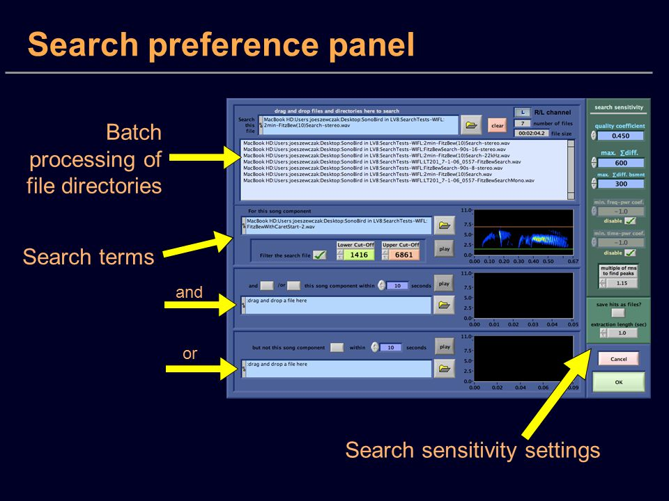 Search preference panel