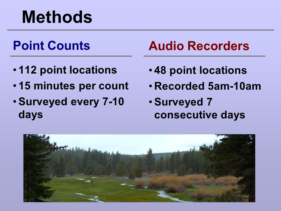 Methods Point Counts Audio Recorders 112 point locations