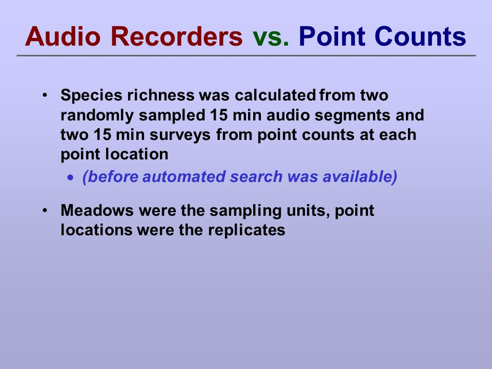 Audio Recorders vs. Point Counts