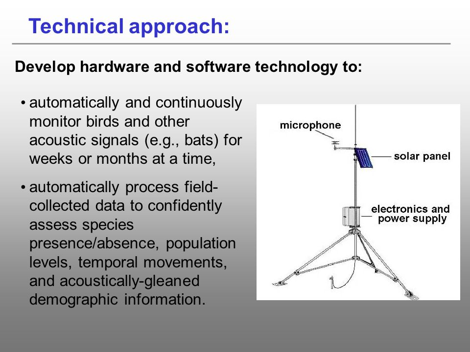 Technical approach: Develop hardware and software technology to: