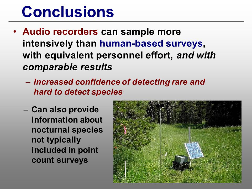 Conclusions Audio recorders can sample more intensively than human-based surveys, with equivalent personnel effort, and with comparable results.