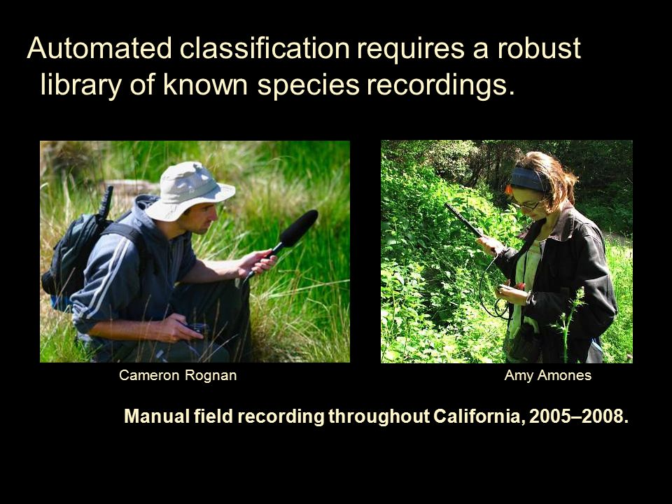 Automated classification requires a robust library of known species recordings.