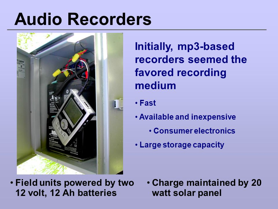 Audio Recorders Initially, mp3-based recorders seemed the favored recording medium. Fast. Available and inexpensive.