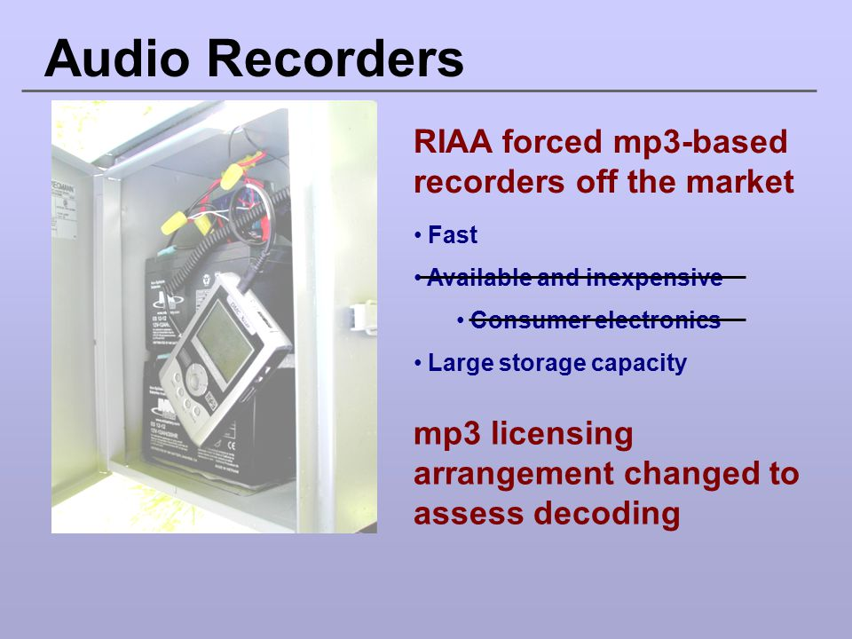Audio Recorders RIAA forced mp3-based recorders off the market