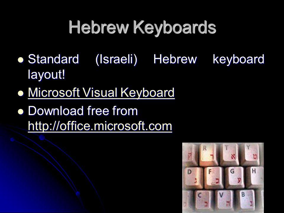 Hebrew Keyboards Standard (Israeli) Hebrew keyboard layout!