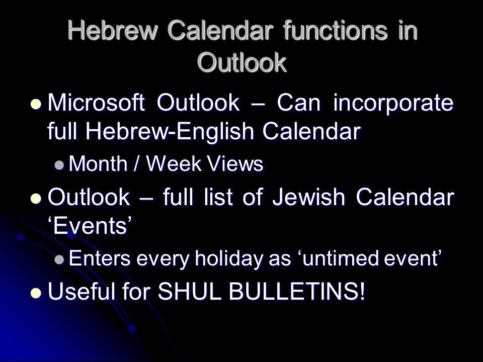 Hebrew Calendar functions in Outlook