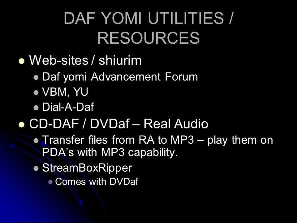 DAF YOMI UTILITIES / RESOURCES