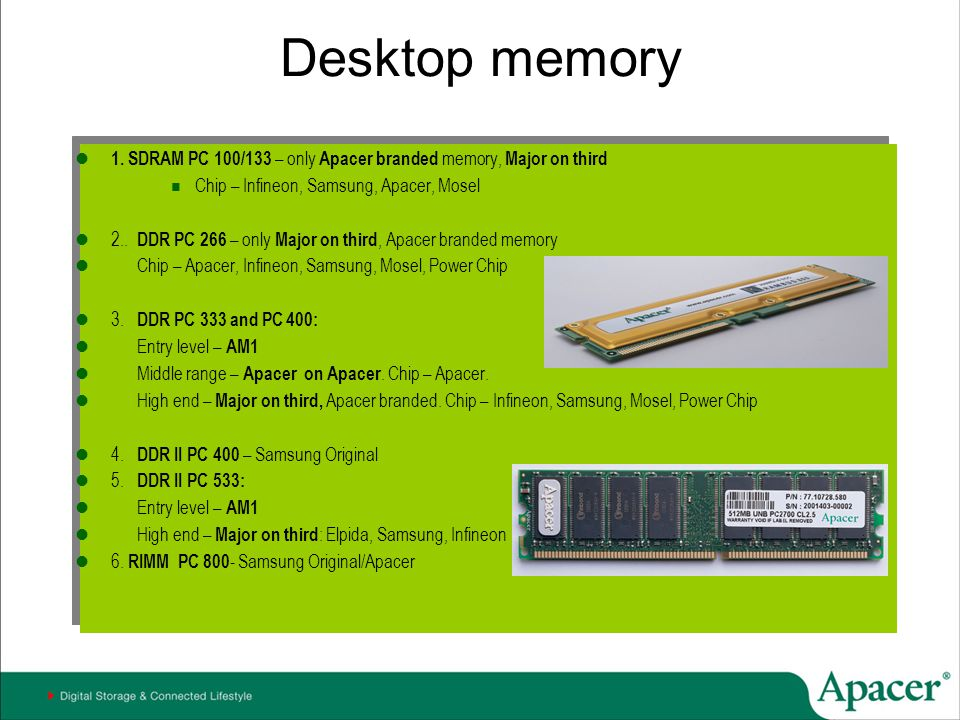 Desktop memory 1. SDRAM PC 100/133 – only Apacer branded memory, Major on third. Chip – Infineon, Samsung, Apacer, Mosel.