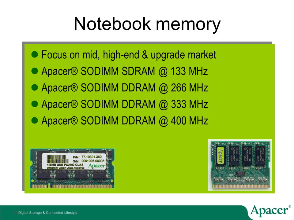 Notebook memory Focus on mid, high-end & upgrade market
