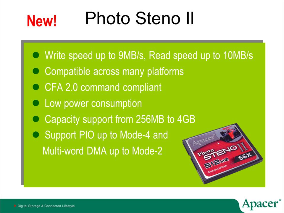 Photo Steno II New! Write speed up to 9MB/s, Read speed up to 10MB/s