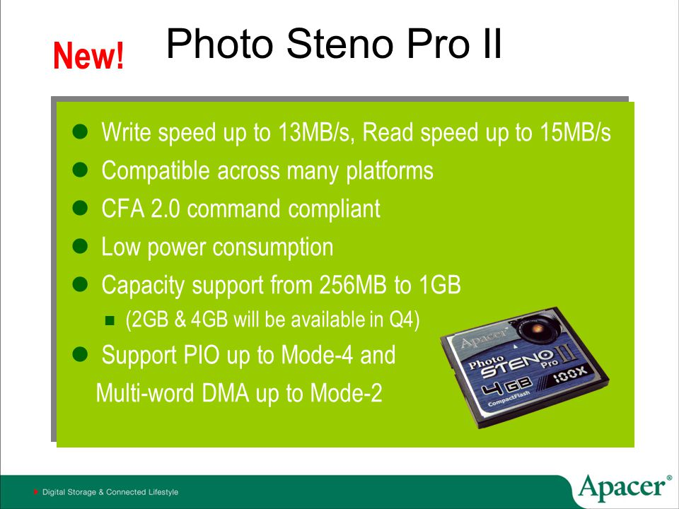 Photo Steno Pro II New! Write speed up to 13MB/s, Read speed up to 15MB/s. Compatible across many platforms.