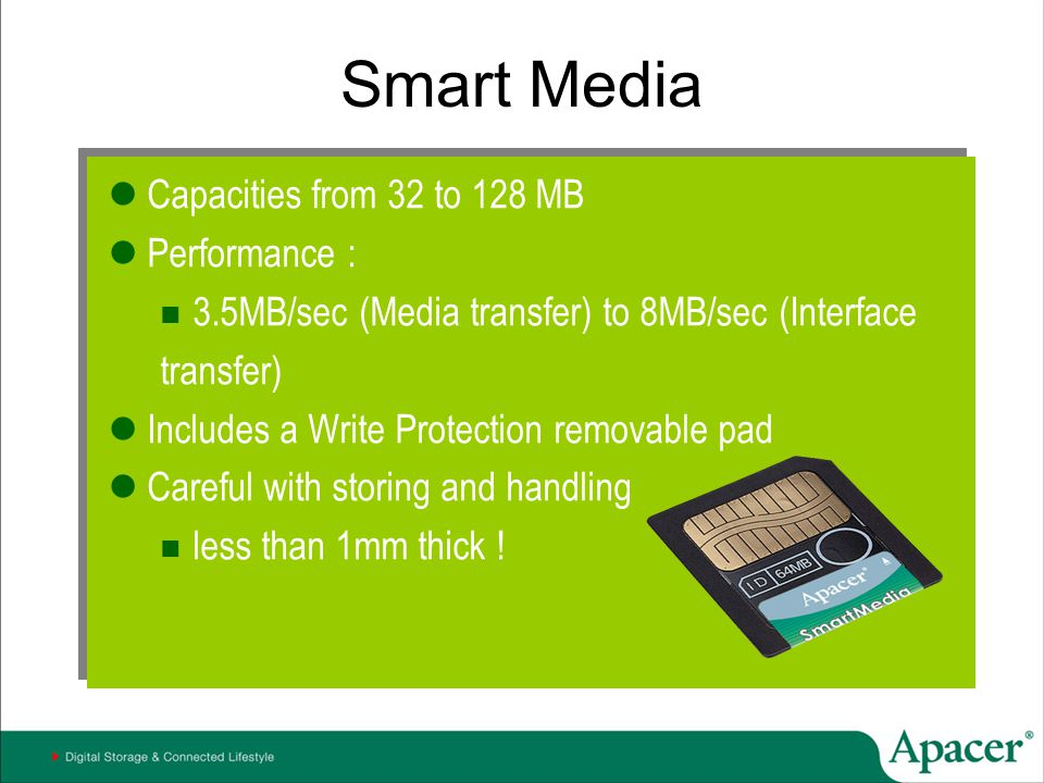 Smart Media Capacities from 32 to 128 MB Performance :