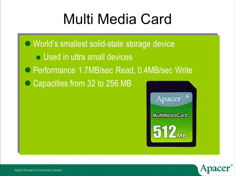 Multi Media Card World's smallest solid-state storage device