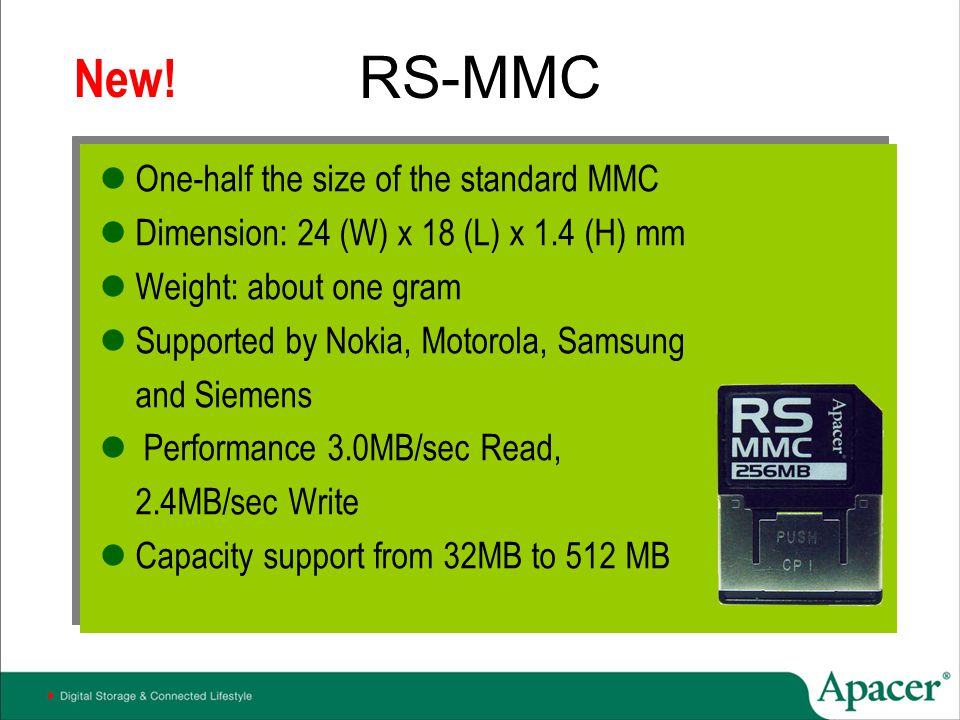 RS-MMC New! One-half the size of the standard MMC
