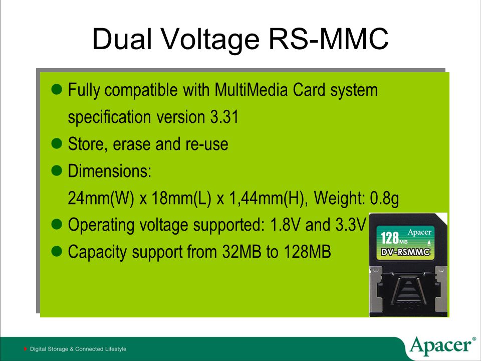 Dual Voltage RS-MMC Fully compatible with MultiMedia Card system