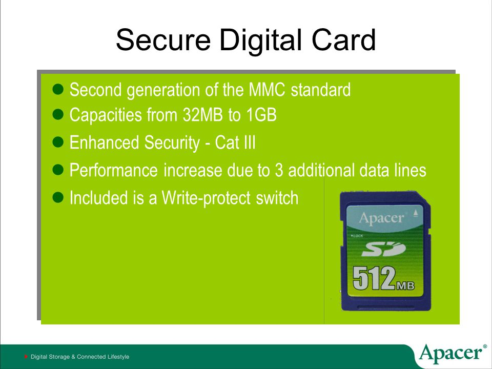 Secure Digital Card Second generation of the MMC standard