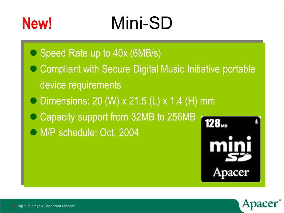 Mini-SD New! Speed Rate up to 40x (6MB/s)