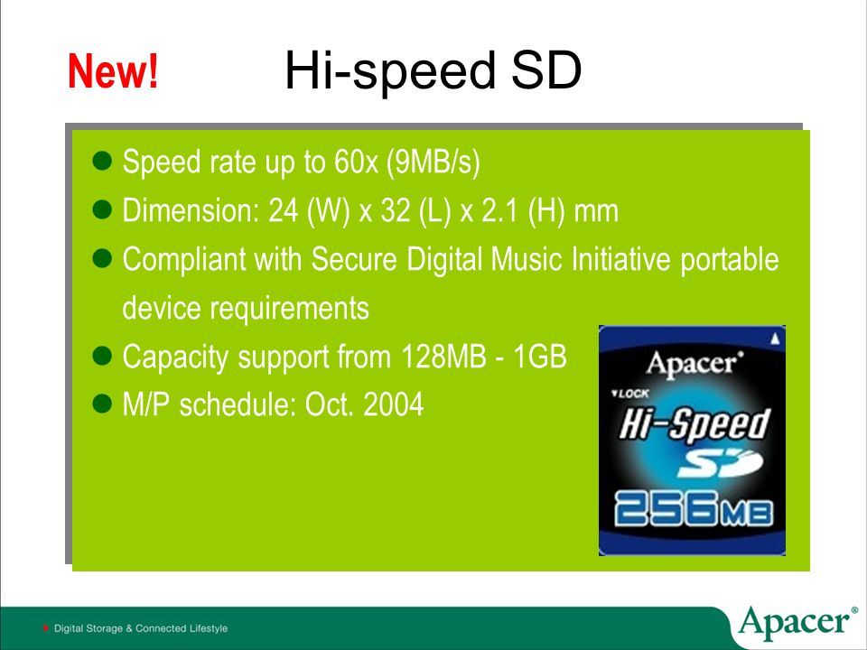 Hi-speed SD New! Speed rate up to 60x (9MB/s)