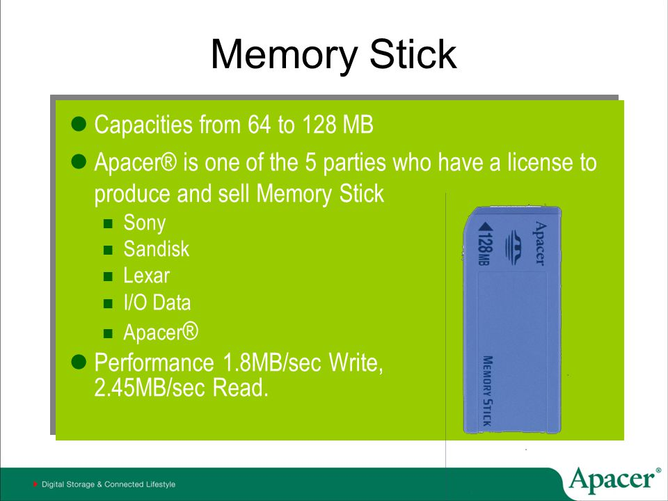 Memory Stick Capacities from 64 to 128 MB