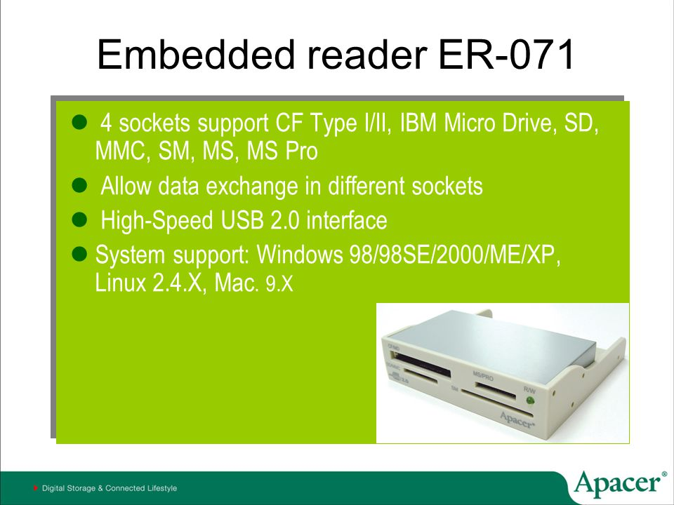 Embedded reader ER-071 4 sockets support CF Type I/II, IBM Micro Drive, SD, MMC, SM, MS, MS Pro. Allow data exchange in different sockets.