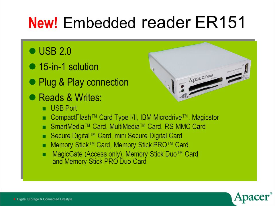 New! Embedded reader ER151 USB 2.0 15-in-1 solution