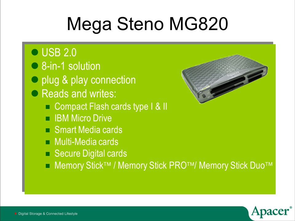 Mega Steno MG820 USB 2.0 8-in-1 solution plug & play connection