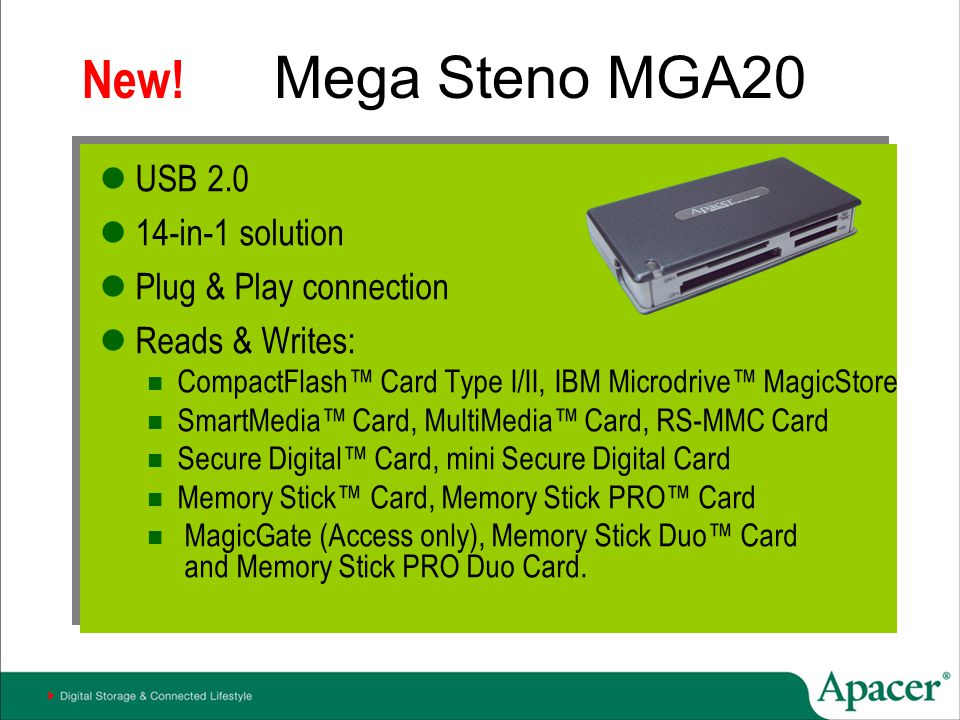 New! Mega Steno MGA20 USB 2.0 14-in-1 solution Plug & Play connection