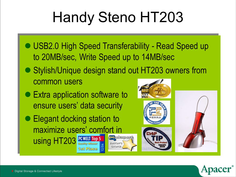 Handy Steno HT203 USB2.0 High Speed Transferability - Read Speed up to 20MB/sec, Write Speed up to 14MB/sec.